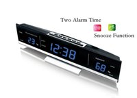 Wholesale Large LED Alarm Clock Fashion Home Decoration Digital Thermometer Relative Humidity Snooze Function Table desktop Wall Clocks
