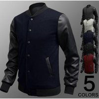 leather clothes - 2015 New Leather Sweater Jacket Personalized Baseball Stitching Clothes Leather Sweater Jacket color Leather Sweater Jacket For Men