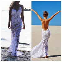 Wholesale Simple Slimming Wedding Dresses - Sexy Halter Lace Sheath Beach Wedding Dresses Sweep Train Backless Slim Bridal Gowns Summer Coast Custom Bride's Wedding Gowns 2015 Simple
