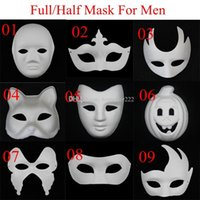face paint - New DIY Mask Hand Painted Halloween White Face Mask Zorro Crown Butterfly Blank Paper Mask Masquerade Cosplay Mask Draw Party Mask Props