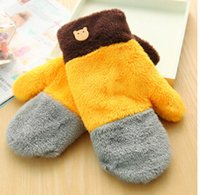 Wholesale hot sale Lovely bear gloves female winter Korean version of the lovely Ms warm winter love gloves thick gloves free shoping A007