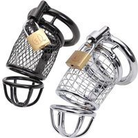 Wholesale 2015 Hot Male Metal Steel Chastity Cock Penis Cage with Ring Padlock BDSM Chastity Devices Sex Toys for men Black Stainless Color CC097