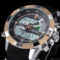 alarm specials - SHARK Digital Analog Dual Time Display Day Date Alarm Special Golden Silicone Strap Mens Quartz Relogio Wrap Gift Wrist Sport Watch SH045