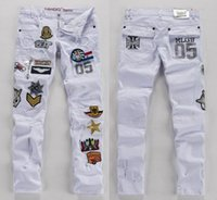 Wholesale Men s White Fashion Jeans Patchwork Slim Fit White Jeans Letter Printed Jeans For Men