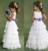 ankle length dresses - 2015 Lovely White Flower Girls Dresses with Jewel Neckline A Line Tiers Pleated Ankle Length Dresses for Little Flower Girl s