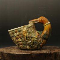ancient ceramic pottery - Zoomorphic pottery pot antique duck tail antiques antique porcelain Home Decoration High ancient porcelain collection flea
