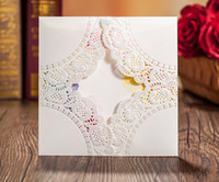 Wholesale white engagement invitations personalized lace Laser Cut wedding invitations butterfly Customized cheap paper invitation cards