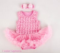 Wholesale classy Baby girl romper dress D rose style w headband one piece baby dress baby jumpsuit w tutu skirt baby girl shower dress
