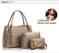 Wholesale Cheap Designed Handbags - New 2015 women Handbags Sets leather handbag women cheap bags ladies brand designs bag bags Handbag+Messenger Bag+Purse 3 Sets