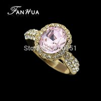 Wholesale Pink Rhinestone Romantic Gold Color Alloy Wedding Rings New Fashion Designer Jewelry For Women