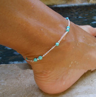 ball anklets - anklets accessories Fashion Gold Silver Plated Anklets Jewery Summer Hot Sell Vintage Blue Beads Alloy Chain Anklets Drop Shipping BR234