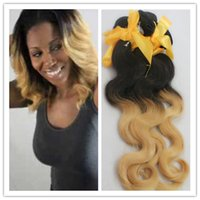 Cheap Premium Ombre Hair Extensions Two Tone Color 1b 27 Body Wavy 100% Brazilian Ombre Human Hair 100g pc 14''-26'' Wig