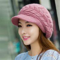 benie hats - Winter New Rabbit Fur Benie Hats for Women Knit Fur Beret Natural Knitted Hats Beret W1003