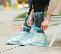 anti slip overshoes - 500PAIR HHA350 Rain Flat Heel Fashion Reusable Waterproof Shoes Cover Waterproof Non Slip Overshoes PVC Rain Boots Men Women Anti Slip
