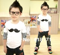Cheap In stock! New Kids Spring Tee Boys&Girls Cute Moustache Long Sleeve T Shirts Striped Sleve Child Top Tee 4pcs lot