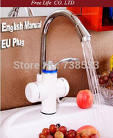Wholesale EU plug sec Instant Tankless Electric Water Heater Faucet Kitchen Instant Hot Water Tap Shower Hot And Cold Dual Use v w A3
