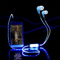 studio flash - Luxury Sport Bright Glowing LED Headphone In Ear handsfree Stereo Cool Glow Flash Light Earbud With Mic With Retail Package For Smartphone