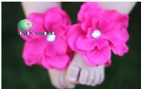Wholesale Free EMS Pairs New style Baby Amour Barefoot Sandals Toddler Baby Shoes With Flower Infant foot flowers