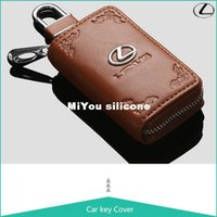 Wholesale Genuine Leather Key Cover for L EXUS Key Fob Holder LS IS RX RX450h Smart Remote Key Case LEXUS Car Black Key Ring