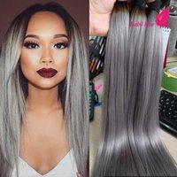 Cheap 7A Grade Peruvian Hair Bundles 3pcs Lot Silver Grey Ombre Hair Brazilian Indian Malaysian Virgin Straight Hair Weft Free Shipping
