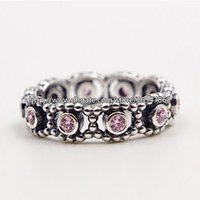 Wholesale New S925 Sterling Silver European Pandora Style Jewelry Her Majesty with Pink CZ Ring Fashion Charm Ring