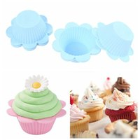 baking food coloring - Blue Baking Dish for Muffin Cookies Sunflower Round Silicone Dish Mould for Baking Food Coloring