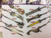 antique men s ring - Blade Soul B S Huge Ogre Axe Sword Weapons model Knife hangings Keychain Keys Ring Pendant Charm