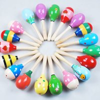 Wholesale 2015 Baby Toys Colorful Wooden Maraca Wood Rattles Kids Musical Party Favor Child Baby Shaker Toy Beach Random Color MC