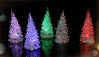 Wholesale Cool Christmas Halloween Tree Ornament Acrylic Crystal Colorful Mini Changing LED night light lamp Decoration Kids Gift