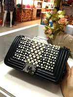Wholesale 2015 New Fashion style Vintage Wedding Women Pearls Beaded Ring Evening Clutch Bag Bridal Handbags Shoulder Chain Purse Wallet