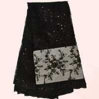 Wholesale Excellent African embroidery dress material French net lace fabric with sequins QN8 black many other color