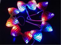 halloween lights - 30PPCS Halloween Christmas Wedding Party Glowing tie light up toy Female Male flashing led bow tie dancing stage decoration