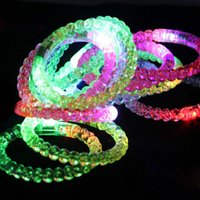 Wholesale Colorful LED bracelet Acrylic ball LED flash bangle cuffs band Button Battery LED Lighted Toys for Masquerade party Bar props