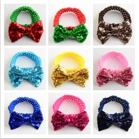 Wholesale fashion Children s Christmas ornaments sequins embroidery Big bowknot South Korea silk Crochet hair band color