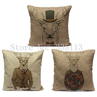 classic sofa - Retro Chic Cartoon Deer Series Pillowcase Christmas Classic Pillow Case Cushion Cover Home Bed Room Sofa Decor