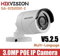 Wholesale Hikvision DS CD2032 I IP Camera mm lens P MP IR Bullet CCTV camera POE V5 mini outdoor waterproof network camera Onvif