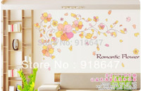abstract borders - Factory New Hot Selling pink romantic Flowers Wall Border Sticker Decal Living Room DIY Decoration