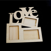 Cheap Hollow Love Wooden Photo Frame White Base DIY Picture Frame Art Decor