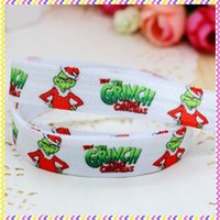 Wholesale 5 inch Fold Over Elastic FOE christmas printed headband headwear diy hair band OEM H2828