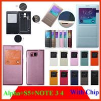 alpha windows - Window View cases Battery door Housing Case Cover For Samsung Galaxy alpha G8508S Note S5 i9600 N9000 Flip PU Leather with Magnetic Chip
