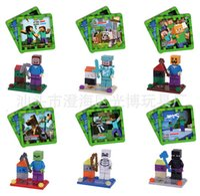 Wholesale Minecraft JJ styles Bricks Blocks Enderman creeper Mooshroom Action Figures DIY Building Blocks Bricks colour box packing