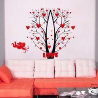 Murals abstract tree designs - Love Blossom Tree Forest Deers Wall Art Mural Decor Cupid s Arrow Love Wallpaper Decor Poster Wedding Room Bedroom Decoration Sticker