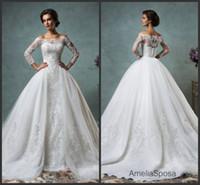 vestido de novia - Modest Detachable Skirt Amelia Sposa Lace wedding dressess Applique Bridal Ball Gowns Custom vestido de novia Chapel Train Over Skirt