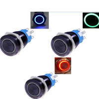 Wholesale Black case mm V LED angel circle symbol Metal Push Button ON OFF Switch car boat DIY Blue Red Green to choose