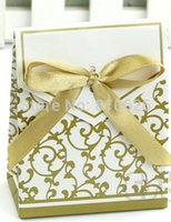 Cheap Free shipping 50pcs Gold Ribbon Gift Paper Bags Engagement Anniversary Wedding Party Cake Favour Favor Gift Boxes