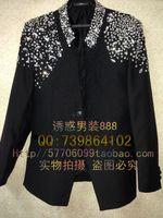 Wholesale Hot Sales Acting Long Coat Pants Jackets Customize Ceremony Black Men Suit Set Host Shoulder Bling wedding suits groom