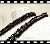 Wholesale 15MM Yards Black Color with Gold Wire Weave Ribbon Knitted Riband Lace Jewelry Rope