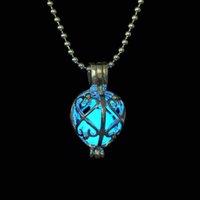 Wholesale Fashion Fluorite Glow in Dark Pendant Necklace Luminous Angel Caller Pendant Teardrop Necklace