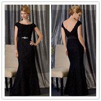 best maternity belts - Black Mermaid Evening Dresses with Crystal Belt Best Selling Bateau Neckline Mother s Dresses Cap Sleeve Lace Formal Dress