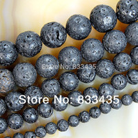 Wholesale mm Natural Black Volcanic Lava Stone Round Beads quot Pick Size Free F00071